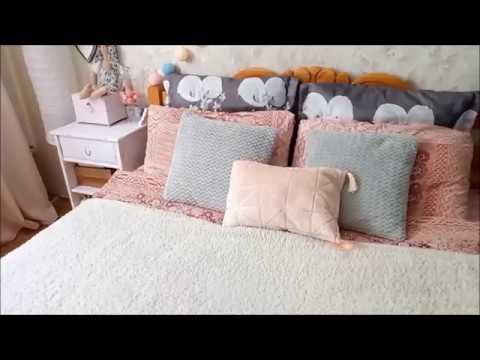 Обновление интерьера в спальне/Как заправить кровать красиво/DIY с перекраской