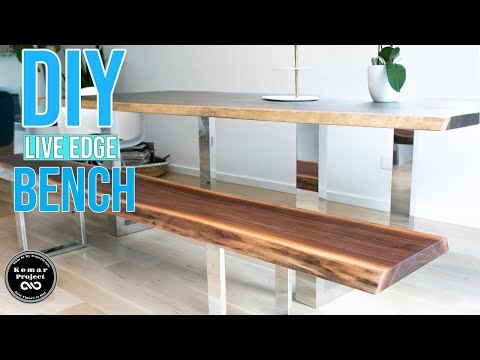 How To Make a Live Edge Walnut Slab Sitting Bench || DIY Woodworking Project