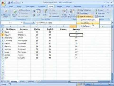 Excel 2007 - Using Goal Seek To Calculate A Value