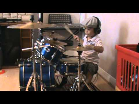 Sweet Child O' Mine drum cover, 3-Year-Old Drummer