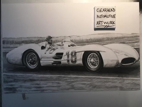 1954 Mercedes W196 Silver Arrow - Time Lapse Drawing