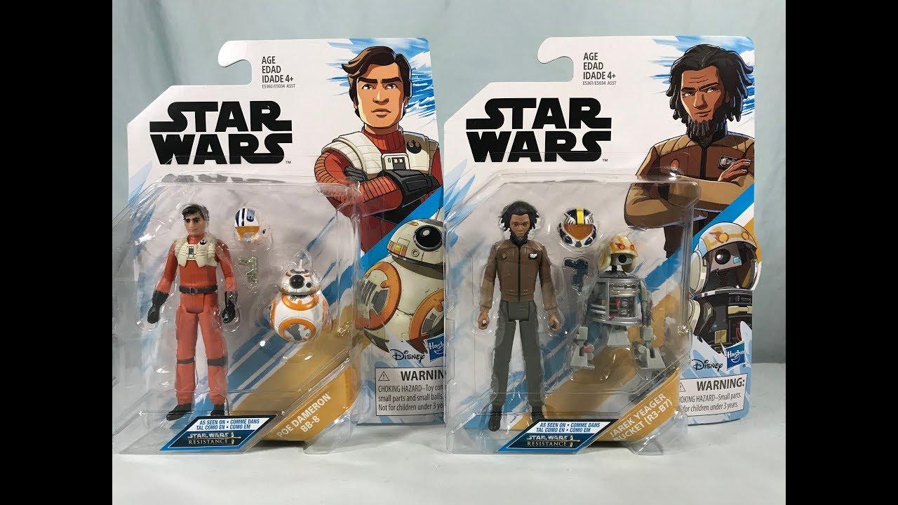 "Star Wars Resistance Poe Dameron /& BB-8 with Jarek Yeager /& R3-B7 3.75/"" Animated"