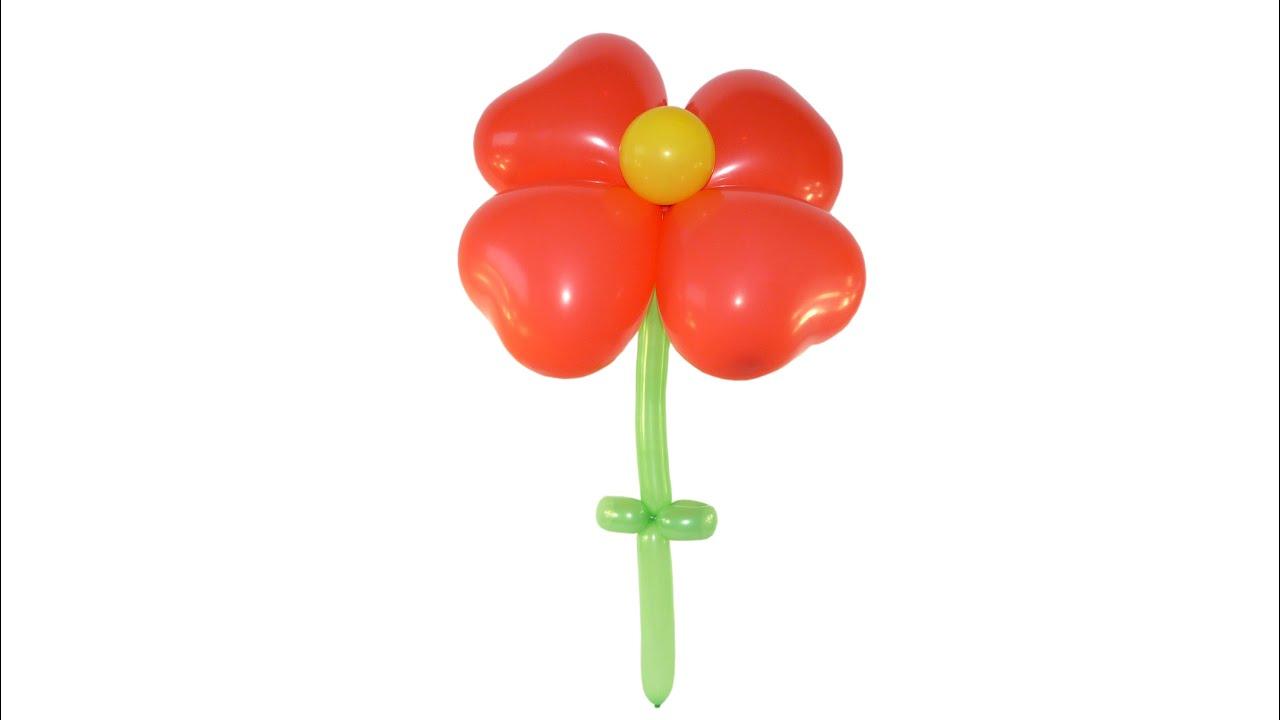 КАК СДЕЛАТЬ ЦВЕТОК ИЗ ШАРИКОВ-СЕРДЕЧЕК how to make a flower out of balloons