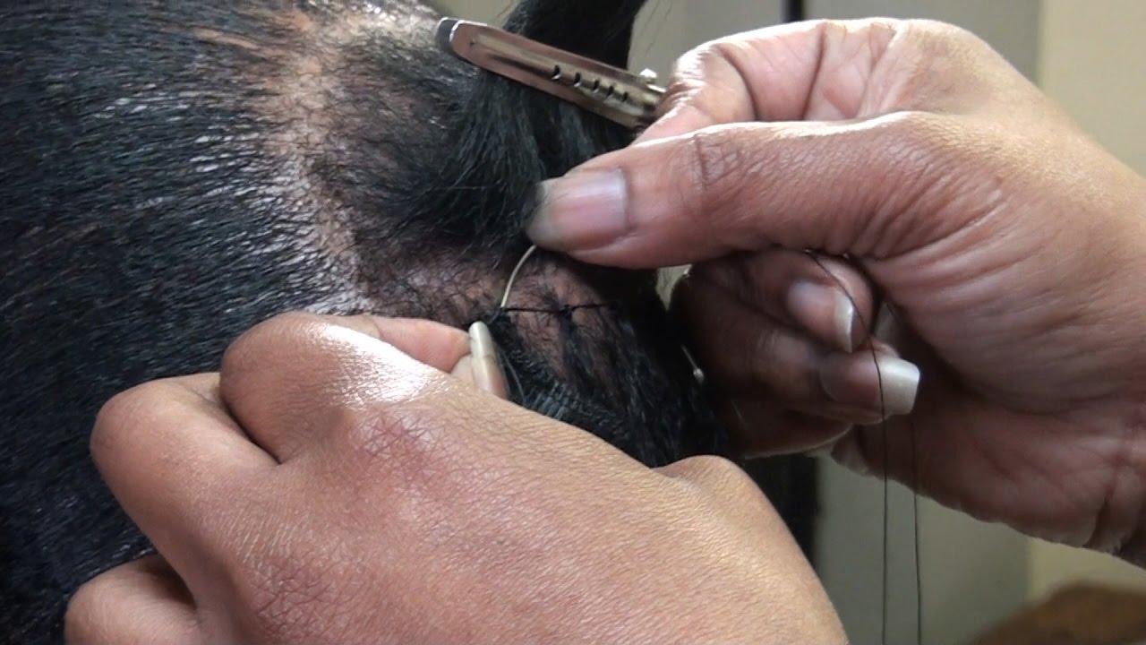 Braidless Sewn In On Short Hair With Nylon Thread Youtube