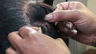 Braidless Sewn In on Short Hair with nylon thread