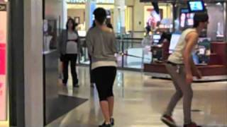 Kid on leash in mall