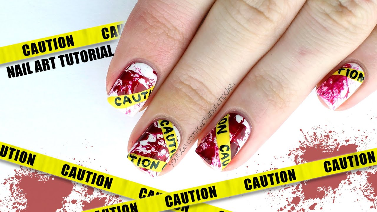 Beautiful Caution Tape With Blood Splatter Halloween Nail Art
