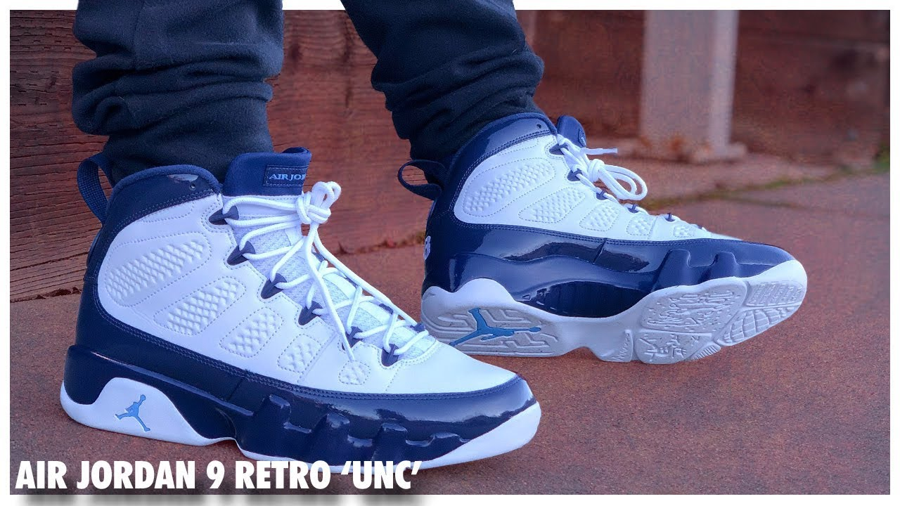invención Pase para saber Agarrar  Air Jordan 9 Retro 'UNC' / 'Midnight Navy' - YouTube