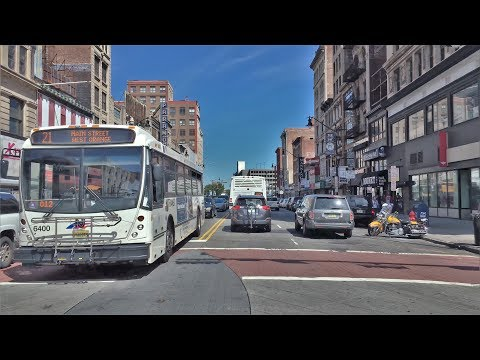 Driving Downtown - Market Street - Newark New Jersey USA