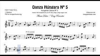 Danza Húngara Nº5 Partitura de Flauta Dulce Fácil
