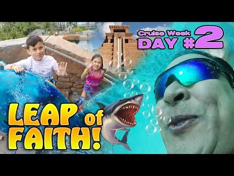 LEAP OF FAITH!!! Water Slide with Sharks!  Atlantis Bahamas [CRUISE WEEK DAY 2]