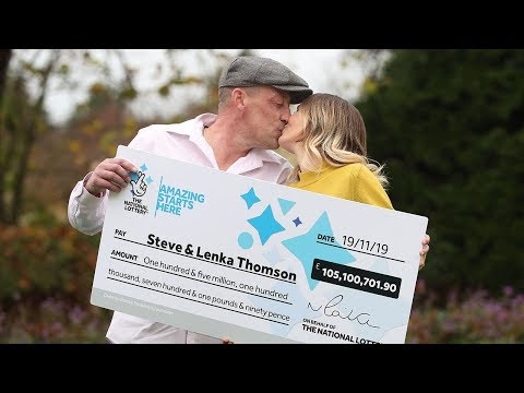 video: National Lottery winners: Builder and his shop worker wife scoop £105m EuroMillions jackpot