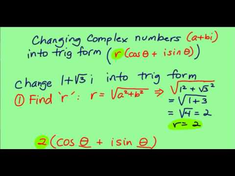 Converting a complex number into trig form - YouTube