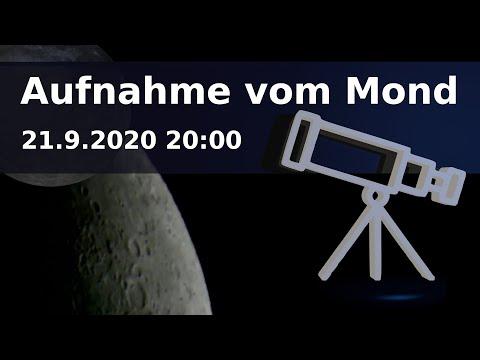 Teleskop Aufnahme vom Mond am 21.9.2020 20:00