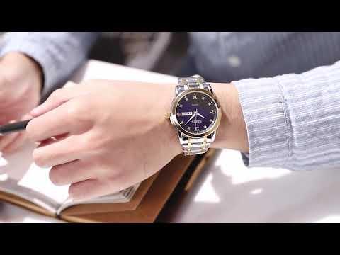 OLEVS Luxury Wrist Watch For Men Black Stainless Steel Men's Watches Date Quartz Man