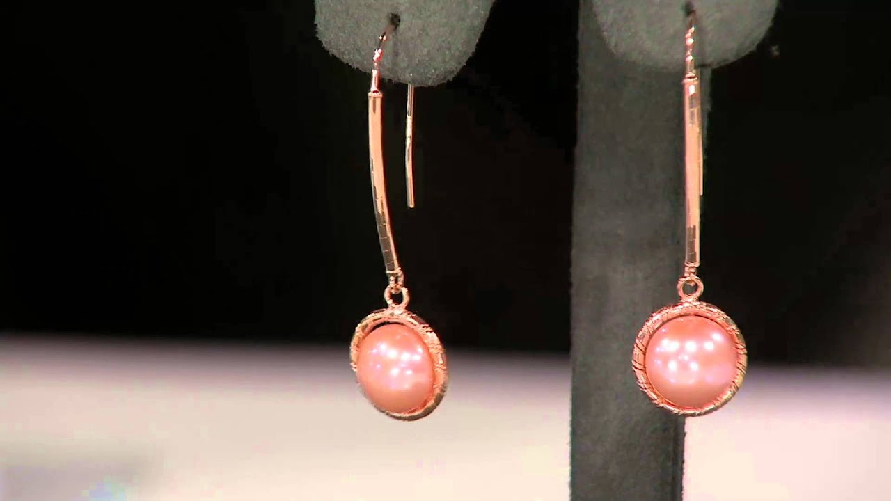 Honora 14k Gold Cultured Pearl 90mm Button Drop Earrings On Qvc