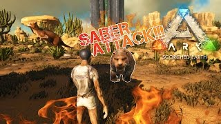ARK: Scorched Earth - THATCH BASE | SABRE ATTACK!!! | Scorched Earth Gameplay  [1]
