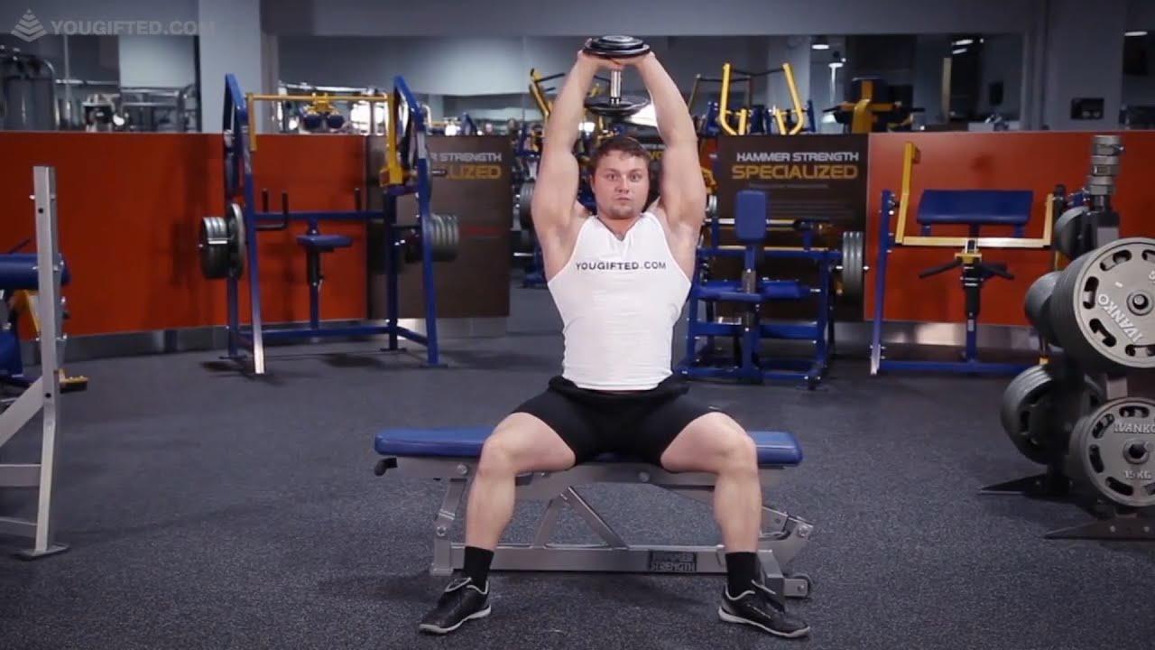 Упражнение для трицепсов. Разгибания рук с гантелью.