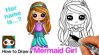 How to Draw a Mermaid Cute Girl Easy