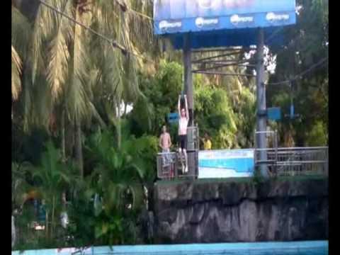 zip line at dam sen water park - YouTube Water Wizz Zip Line