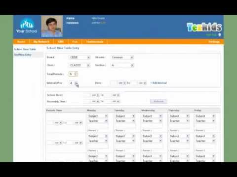 How to create Time Table(Tezkids - School Management Software