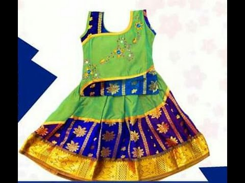 3e5854f147d01b Designer Pattu Pavadai Kids Lehenga Models