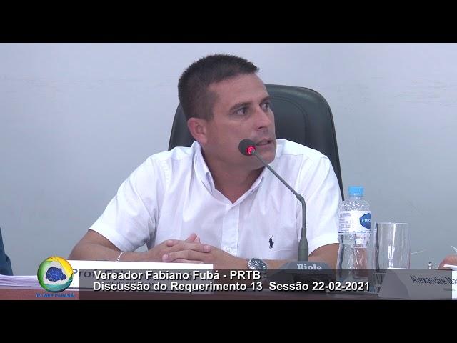 Vereador Professor Fabiano Fubá PRTB  Discussão do Requerimento 13  Sessão 22 02 2021