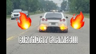 Dad Shoots Flames in the GTR on his Birthday!