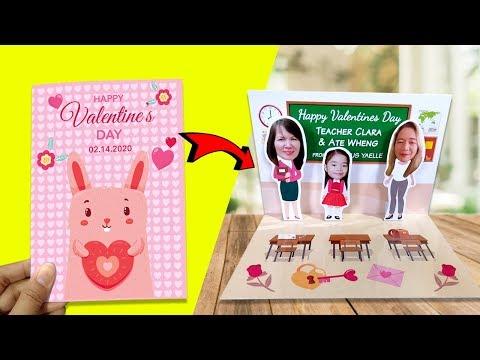 DIY 3D Valentine's Day card - Teacher's Gift Ideas For Kids   Pop-up effect
