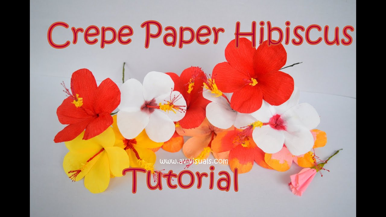 How To Make Hibiscus Flower From Crepe Paper Tutorial Youtube
