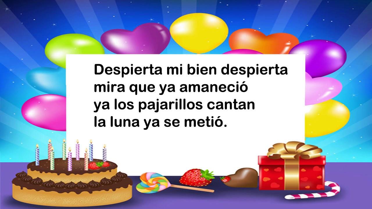 Cancion Cumpleanos Feliz Original En Espanol.Letra De Las Mananitas