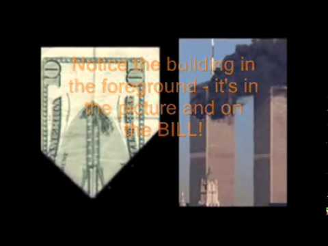 20 DOLLAR BILL WHEN FOLDED HAS THE TWIN TOWERS BURNING