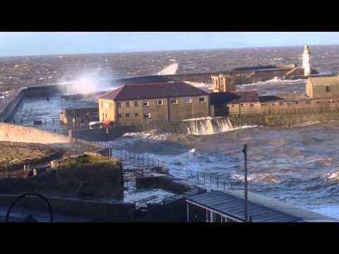 UK Raging Storm hits the Cumbrian Coast at Whitehaven.