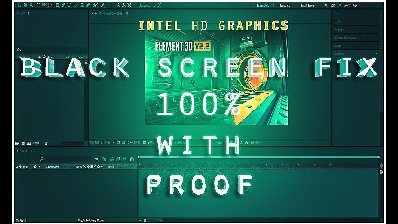 Element 3D -How to fix the black screen problem with intel HD graphic  cards!! 100%