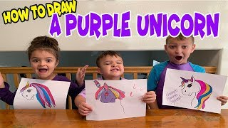 PURPLE DAY...How to draw a CUTE UNICORN!!!