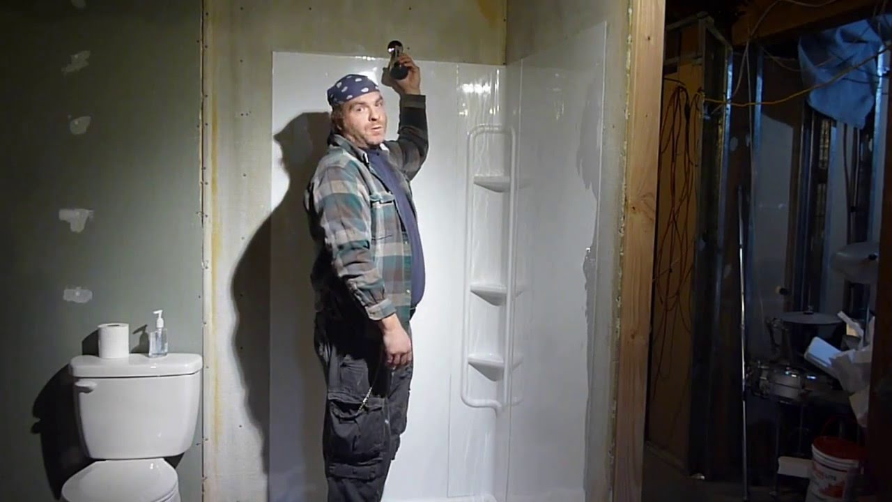 LOWES SHOWER SURROUND INSTAL 1basement bath YouTube