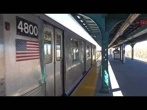 NYC Subway: Metropolitan Avenue-bound R42 (M) Entering & Leaving Forest Avenue (Track 1)