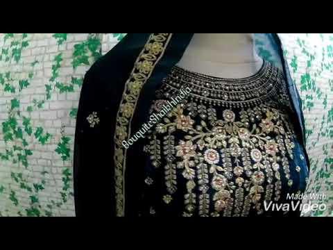 Blue Anarkali Baju India Customer Order Indoneisa