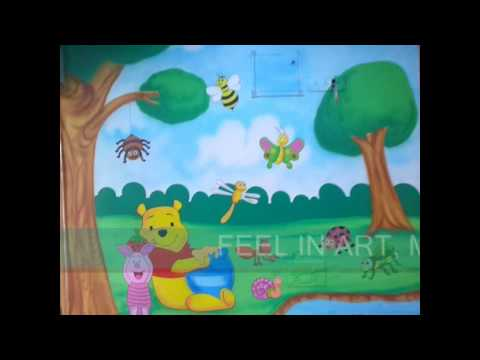 Nursery themed wall painting ideas for Play school