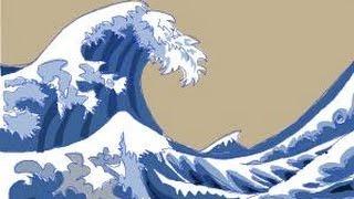 waves drawing japanese draw painting wave drawings ocean cartoon water easy sketch step crashing illustration sea fish artwork getdrawings