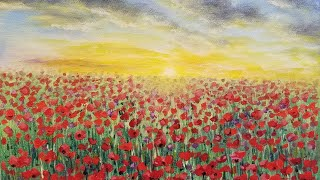 Sunset Poppy Field Acrylic Painting LIVE Tutorial