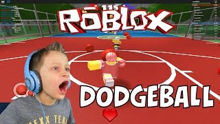 7 year old having fun playing Dodgeball in Roblox - knocks down his teammate! | KID GAMING