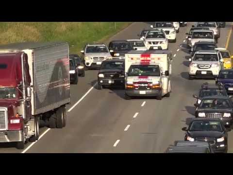Vehicle Cuts-off Ambulance Going Code-3 Langley BC Canada 02/07/2016