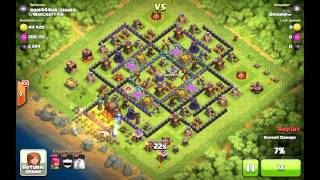 Clash of Clans Archers 5 level vs my new base (Hidden Tesla level 8 and Mortar level 9 in action)