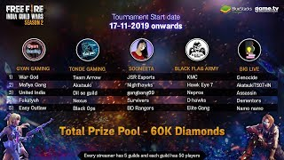 GUILD WAR OFFICIAL TOURNAMENT BY BLUESTACKS - FREE FIRE LIVE
