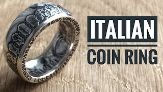 Italian Coin Ring. Incredible Ring out of silver coin 500 Lire Italy