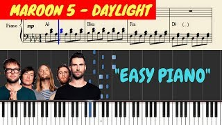 Maroon 5 - daylight piano (tutorial + sheets) with lyrics | synthesia cover