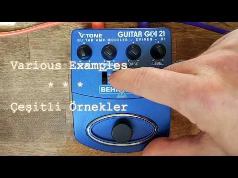 Behringer V-Tone Guitar GDI 21 Amp Modeler Demo; (SansAmp GT2 Clone) Fender, Marshall, Mesa Boogie