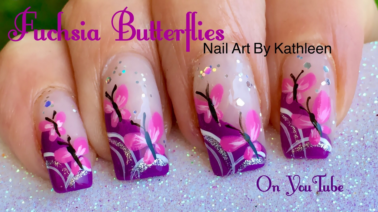 Fuchsia Butterfly Nail Art - DIY Freehand Tutorial - YouTube