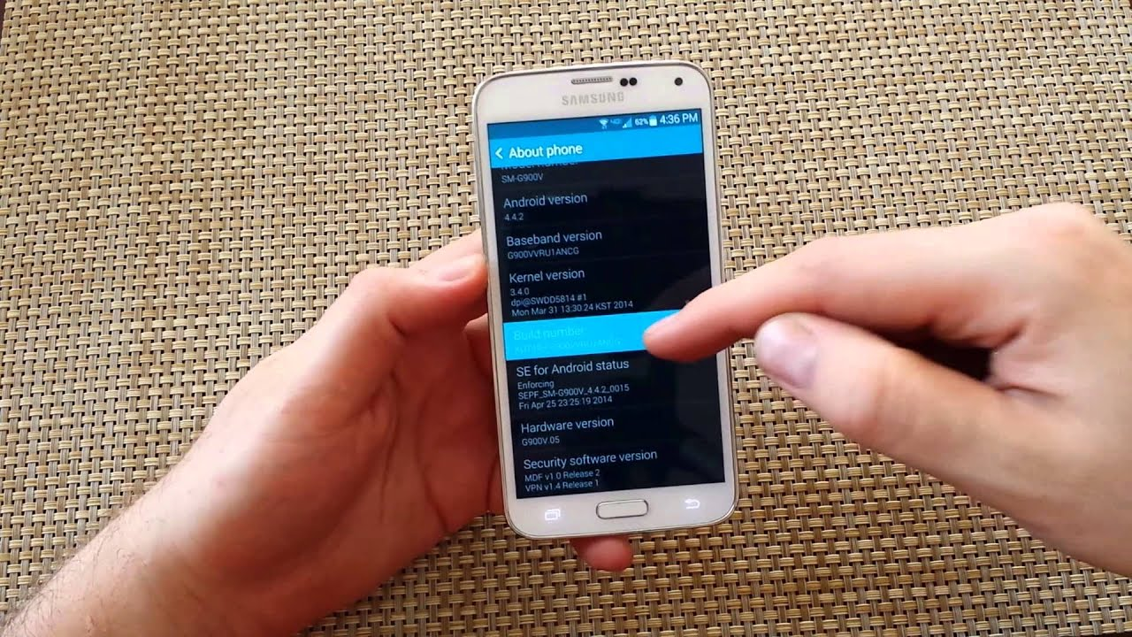 Samsung Galaxy S5 How to enable developer mode and usb debugging